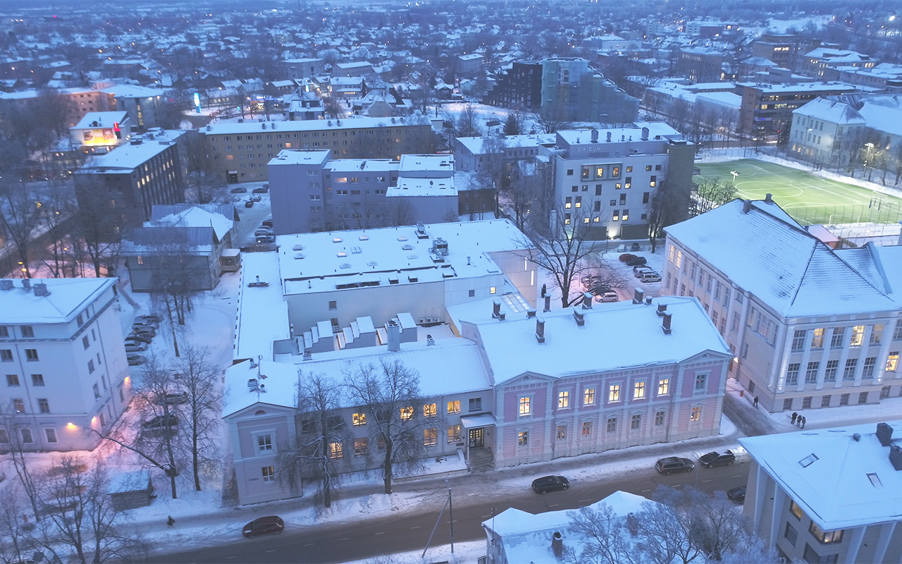 Winter drone photo of the Estonian Literary Museum